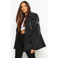 Womens Contrast Piping Synch Waist Parka - black - 14, Black