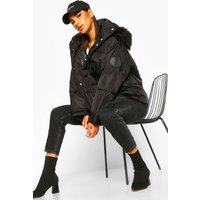 Womens Sporty Faux Fur Trim Puffer - black - 8, Black
