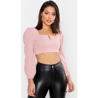 Womens Crepe Plunge Front Crop Top - pink - 6, Pink