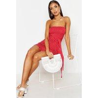 Womens Spot Bandeau Frill Mini Dress - Red - 10, Red