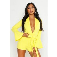 Womens Plunge Belted Flare Sleeve Playsuit - yellow - 14, Yellow