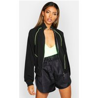 Womens Neon Piping Track Jacket - black - 8, Black