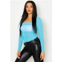 Womens Mesh Gathered Detail Peasant Top - Blue - 6, Blue
