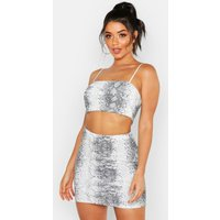 Womens Snake Print Strappy Top & Mini Skirt Co-Ord - grey - 8, Grey