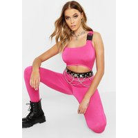 Womens Festival Buckle Cut Out Catsuit - pink - 14, Pink