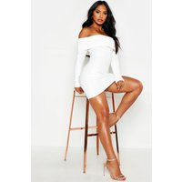 Womens Scuba Rib Double Layer Bardot Mini Dress - White - 12, White