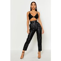 Womens Leather Look Belted High Waist Trousers - Black - 10, Black
