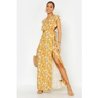 Womens Floral Woven Ruffle Sleeve Wrap Maxi Dress - yellow - 10, Yellow