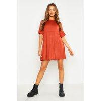 Womens Frill Sleeve Smock Dress - orange - 10, Orange
