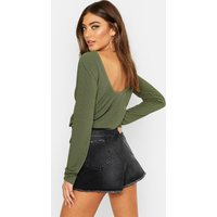 Womens Basic Low Back Scooped Long Sleeve T-Shirt - green - 16, Green