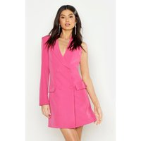 Womens Woven One Sleeve Covered Button Blazer Dress - Pink - 12, Pink