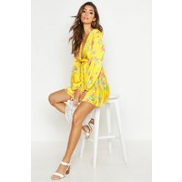 Womens Printed Wrap Tie Detail Skater Dress - yellow - 10, Yellow