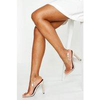 Womens Clear Double Strap Heels - Beige - 3, Beige
