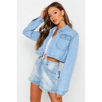 Womens Utility Cropped Denim Jacket - Blue - 14, Blue