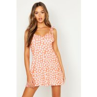 Womens Tie Strap Bust Detail Floral Sun Dress - orange - 10, Orange
