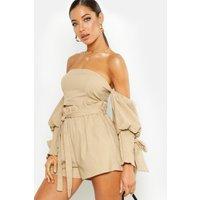 Womens Linen Volume Shirred Sleeve Top - Beige - 8, Beige