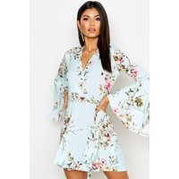 Womens Floral Wrap Extreme Ruffle Sleeve Skater Dress - blue - 10, Blue