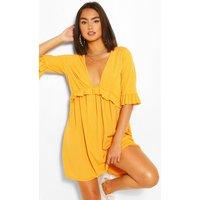 Womens Ribbed Ruffle Smock Dress - Yellow - 12, Yellow