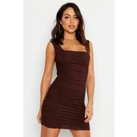All Over Ruched Square Neck Gypsy Dress