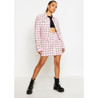 Womens Oversized Grid Denim Jacket - Pink - 8, Pink
