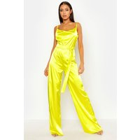 Womens Satin Wide Leg Cowl Neck Jumpsuit - yellow - 8, Yellow