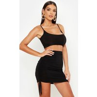 Womens Slinky Cami Top And Ruched Mini Skirt - black - 8, Black
