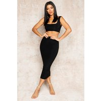 Womens Double Layer Square Neck & Midaxi Co-Ord Set - Black - 14, Black