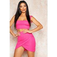Womens Highwaist Bandage Mini Skirt - Pink - 14, Pink
