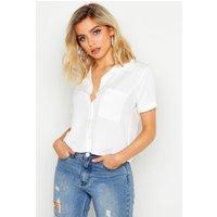 Womens Woven Viscose Short Sleeve Pocket Shirt - white - 12, White