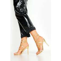Womens Skinny Strap Wrap Up Stiletto Heels - metallics - 6, Metallics