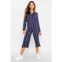 Womens Striped Shirt Style Jumpsuit - navy - 12, Navy