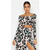 Womens Off Shoulder Leopard Print Crop - pink - 14, Pink