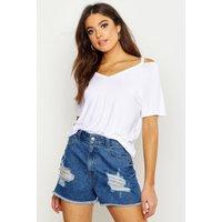 Womens Basic Cut Out Shoulder T-Shirt - white - 14, White