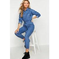 Womens Denim Boilersuit - blue - 10, Blue