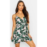 Womens Palm Print Wrap Front Slip Dress - Pink - 8, Pink