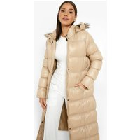 Womens Maxi Cire Panelled Padded Jacket With Faux Fur Trim -