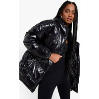 Womens Cire Oversize Panelled Puffer Jacket - Black - 12, Black