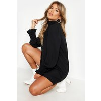 Womens Shirred Neck & Cuff Smock Dress - Black - 16, Black