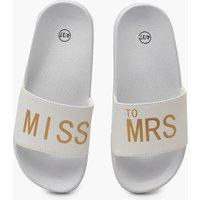 Womens Miss To Mrs Slogan Sliders - white - 5, White