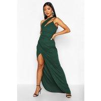 Womens One Shoulder Maxi Dress - green - 14, Green
