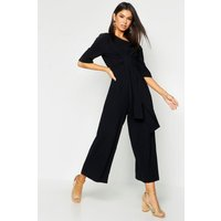 Womens Linen Twist Tie Culotte Jumpsuit - black - 14, Black