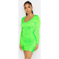 Womens Long Sleeved Ruched Mini Dress - green - 6, Green