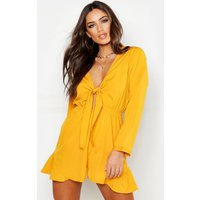 Womens Knot Front Ruffle Hem Playsuit - yellow - 10, Yellow