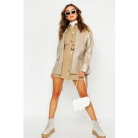 Womens Patent Belted Faux Leather Jacket - white - 14, White