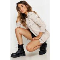 Womens Double Pocket Belted Utility Jacket - beige - 12,