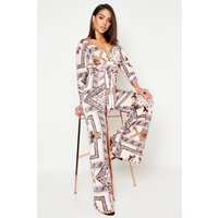 Womens Slinky Chain Print Wide Leg Plunge Jumpsuit - Pink - 8, Pink