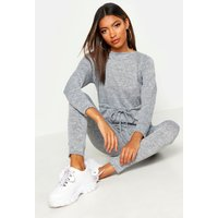 Womens Tie Waist Long Sleeve Lounge Jumpsuit - grey - 8, Grey
