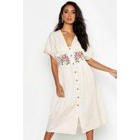 Womens Embroidered Linen Button Front Midi Dress - white - 8, White