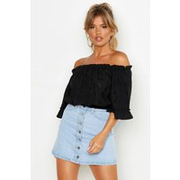 Womens Off The Shoulder Broderie Anglaise Crop Top - Black - 8, Black