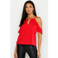 Womens Ruffle Detail Cold Shoulder Top - red - 12, Red